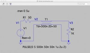 Fig. Circuit: Load Z<sub>L</sub>=1KΩ - Series termination